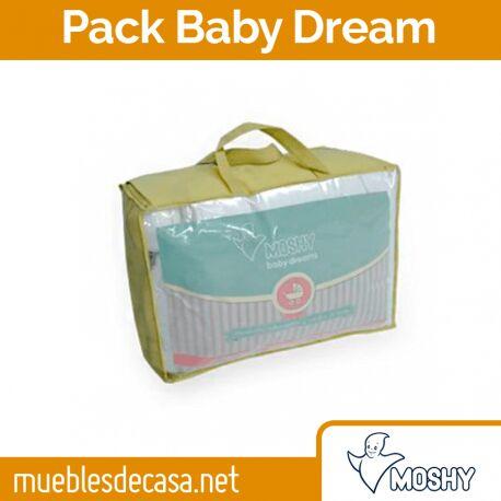 Pack Moshy Baby Dream: Almohada, Cubrecolchón y Edredón de Cuna