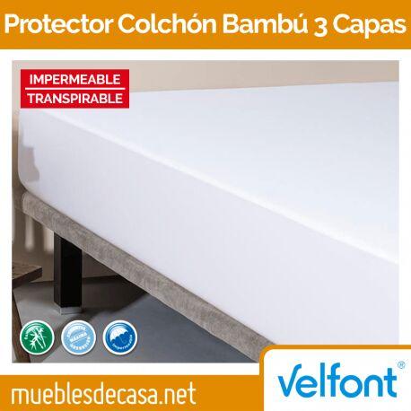 Cubrecolchón Velfont Bambu Impermeable 3 Capas