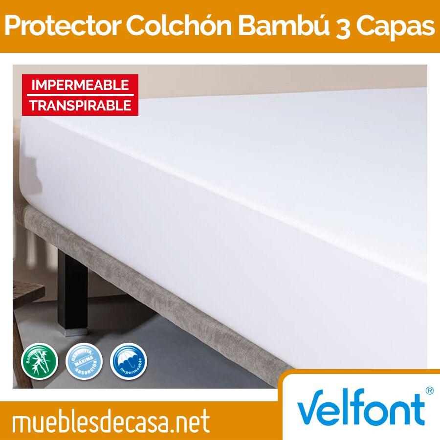 Protector Colchón Impermeable Bambú 3 Capas de Velfont