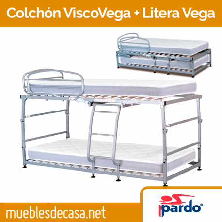 Pack Colchón ViscoVega + Cama Litera Vega Pardo