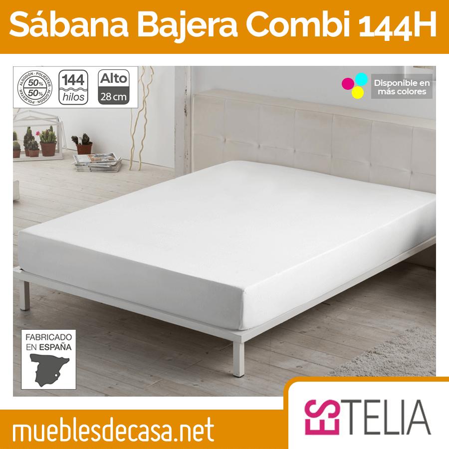 Sábana Bajera Algodón/Poliéster 144 Hilos Alto 28 cm Es-tela