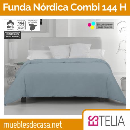 Funda Nórdica Liso Combi Algodón 144 Hilos de Estelia