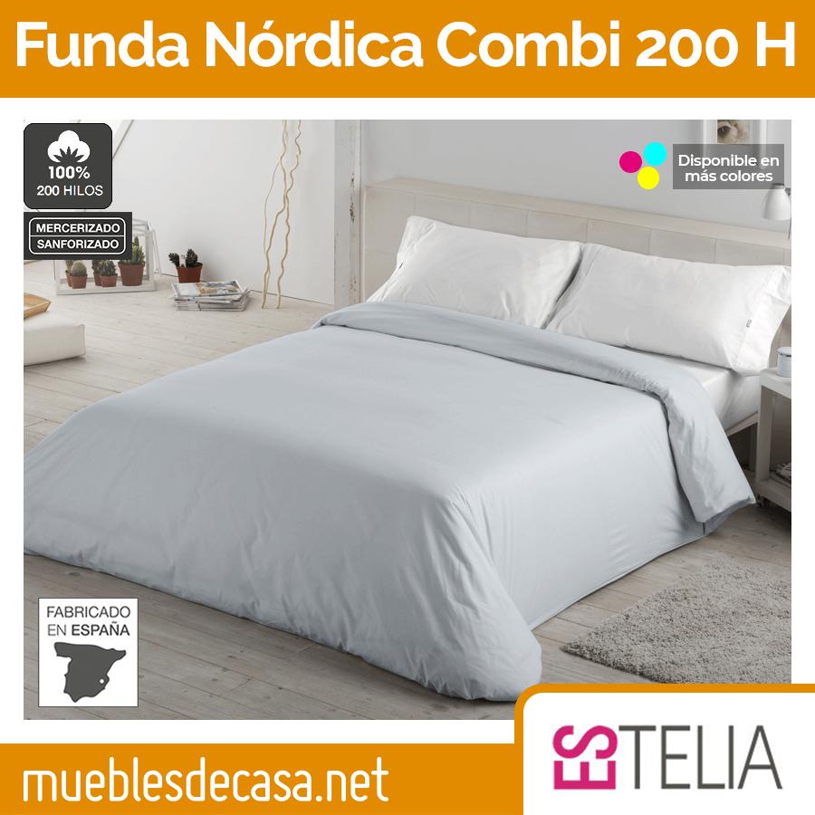 Funda Nórdica Liso Combi Algodón 200 Hilos de Estelia