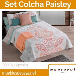 Set de Colcha y Cojín 100% algodón Paisley 763