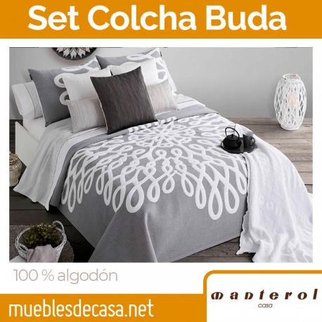 Set Colcha y Funda Cojín 100% Algodón Buda de Manterol