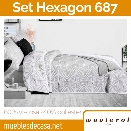Set Colcha y Funda Cojín 60% viscosa y 40% poliéster Hexagon de Manterol