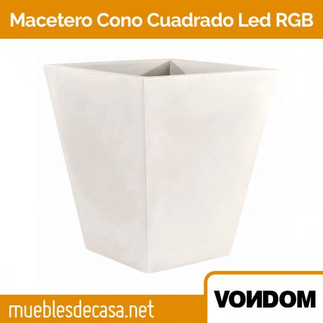 Macetero de Diseño para Exterior Vondom Cono Cuadrado LED RGB