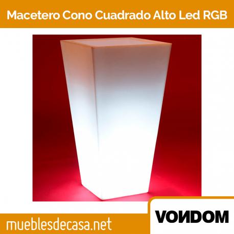 Macetero de Diseño para Exterior Vondom Cono Cuadrado Alto LED RGB