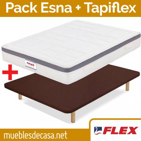 Pack Económico Flex, Colchón Esna + Base Tapizada Tapiflex