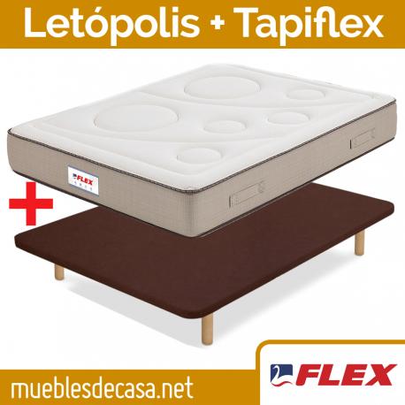 Pack Económico Flex, Colchón Letópolis + Base Tapizada Tapiflex