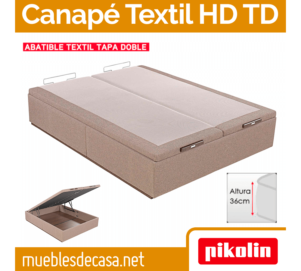 Canapé Abatible Tapizado Gran Capacidad Pikolin Textil HD Doble Tapa