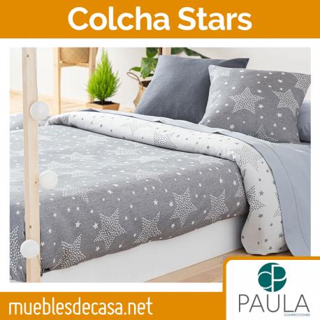 Colcha Infantil Confecciones Paula Stars Cama 90 Gris OUTLET