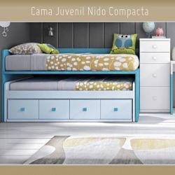 Cama Juvenil Compacta Nido Oculto y 4 Cajones