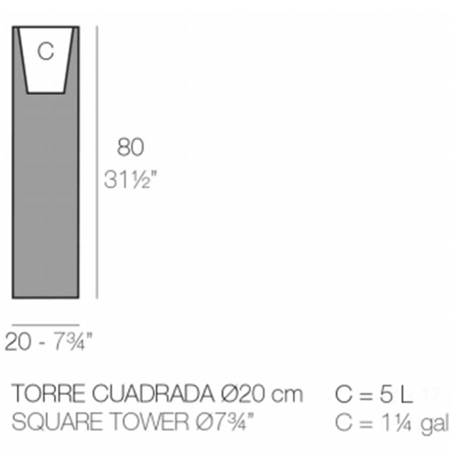 Medidas del macetero Torre cuadrado