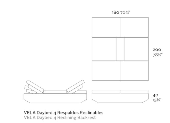 daybed reclinable medidas