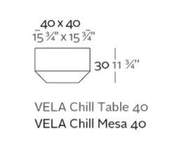 mesa vela chill 40 medidas