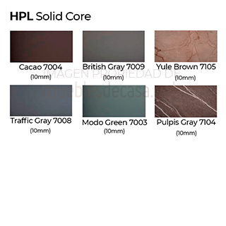 Acabados HPL solid core mesa rest