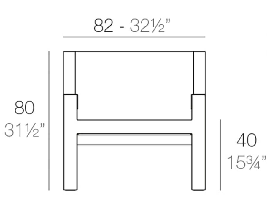 MEdida butaca frame