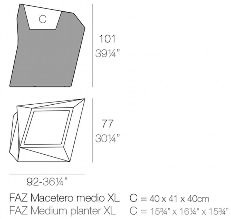 Medidas macetero medio Faz