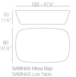Medidas de la mesa Sabinas