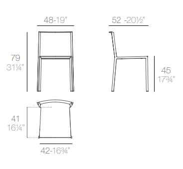 MEdidas silla Quartz sin brazos