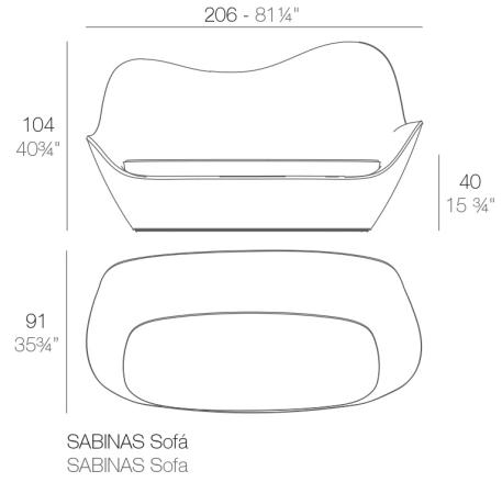 Medidas del sofá Sabinas