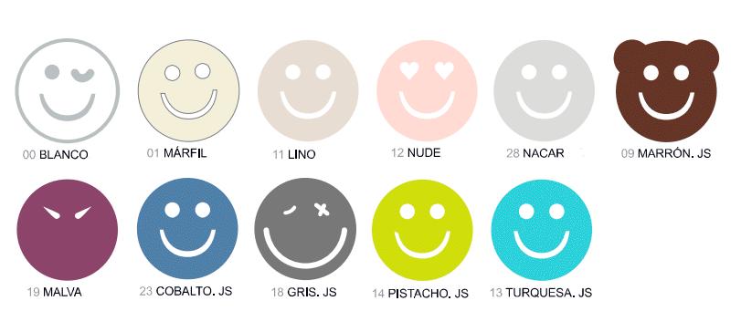 Colores disponibles del juego de sábanas Happycolor